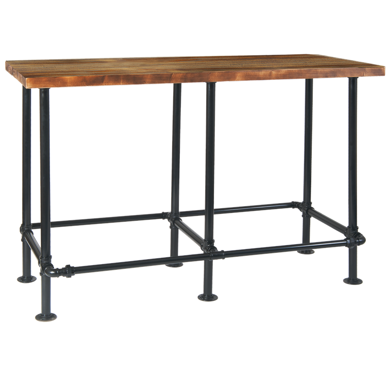 Brilliant Indoor Pinewood Table Top With Black Pipe Metal Base In Bar Machost Co Dining Chair Design Ideas Machostcouk