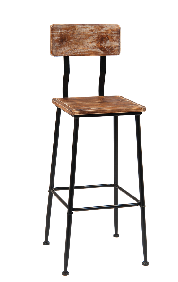 Miraculous Black Metal Barstool With Pine Wood Back Seat Caraccident5 Cool Chair Designs And Ideas Caraccident5Info