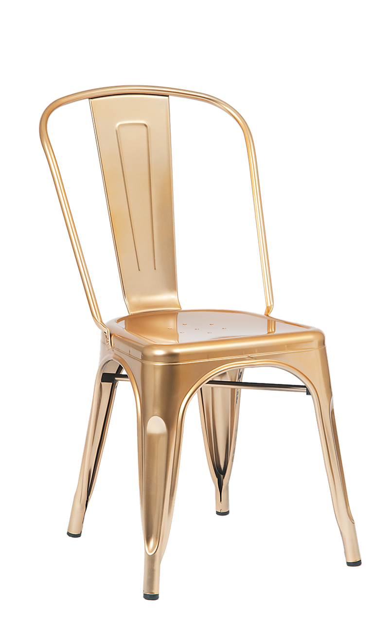 Indoor steel chair in gold finish