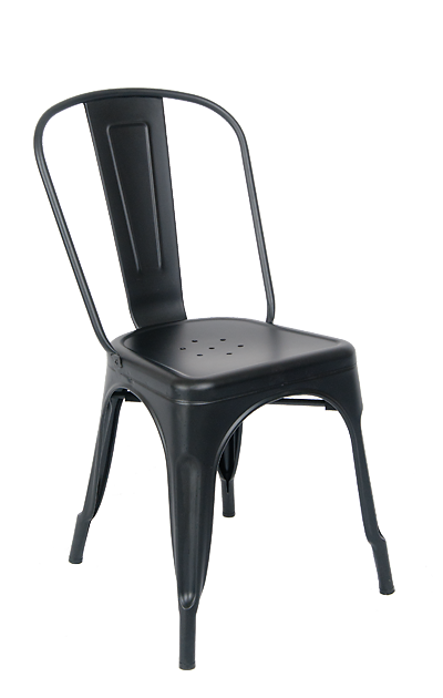Indoor Metal Chair In Matte Black Finish