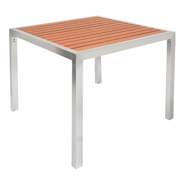 X Aluminum Patio Table With Umbrella Hole Imitation Teak Slats - Teak and aluminium outdoor table