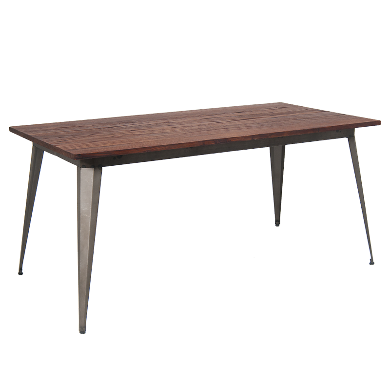 X Indoor Steel Table With Walnut Color Elm Wood Top Pc - Stain steel table