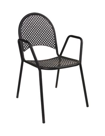 black metal powder coated outdoor chair